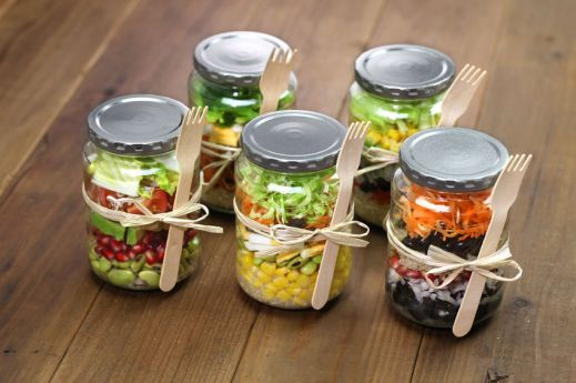 37449218 - homemade healthy salad in glass jar